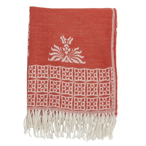 Fringed Throw with Medallion Design