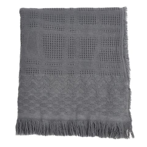 Waffle Weave Throw with Cross Hatch Design