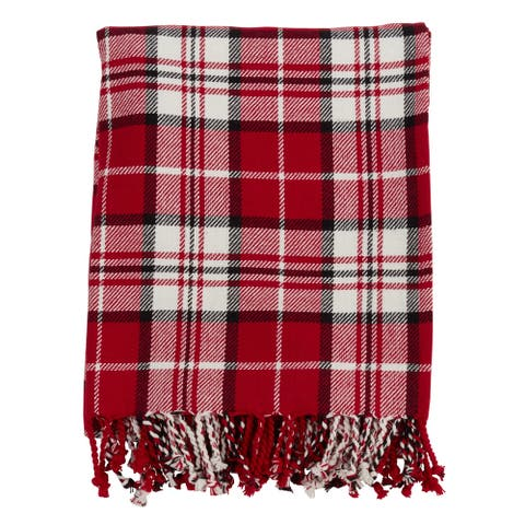Cotton Throw Blanket with Red Plaid Design