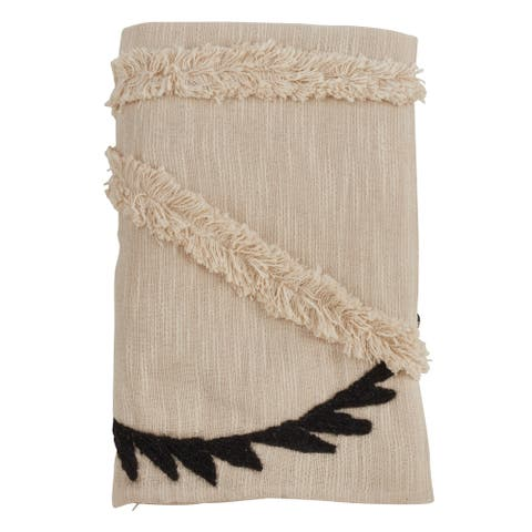 Cotton Throw Blanket with Embroidered Fringe Design