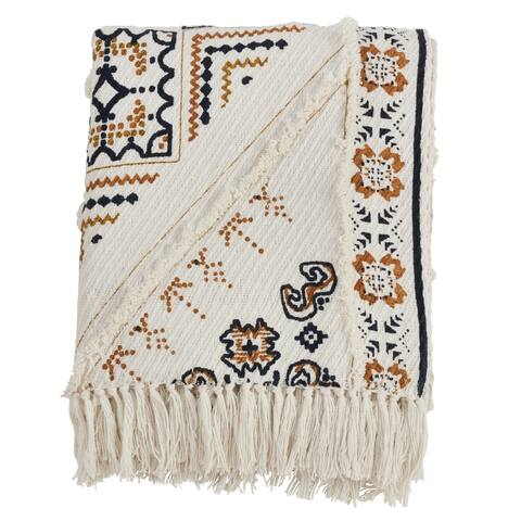Printed Cotton Fringed Throw Blanket