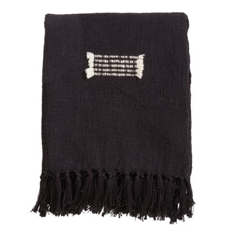 Modern Boho Fringe Cotton Throw