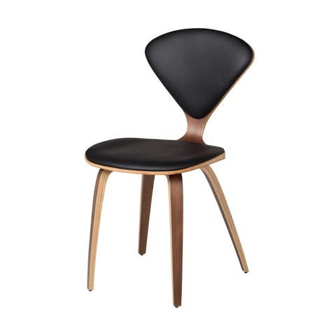 Valley Inspired Side Chair Black Leather