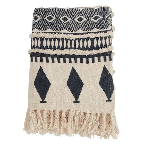 Geometric Print & Fringed Cotton Throw Blanket