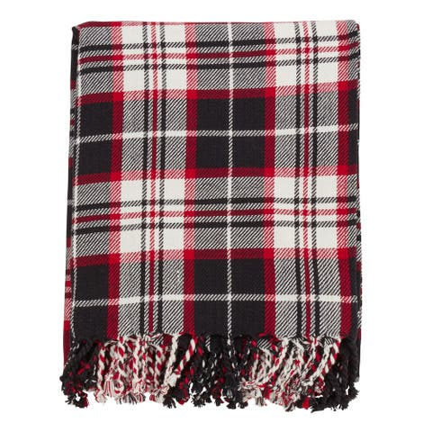 Cotton Throw Blanket with Black Plaid Design