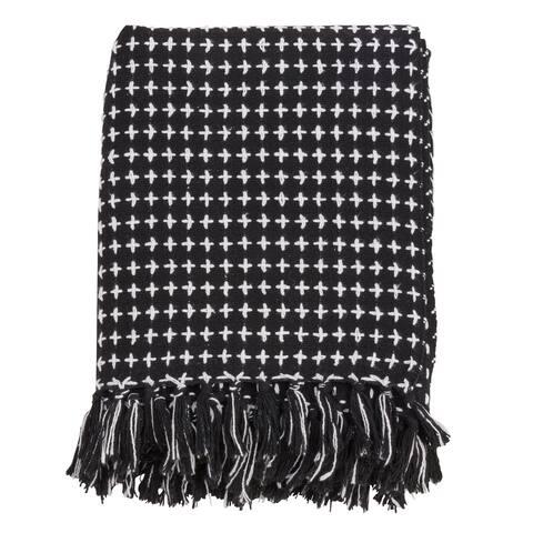 Woven Cross Stitch Design Throw Blanket