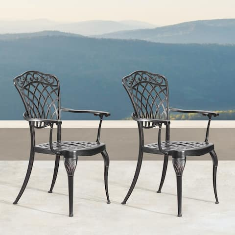 Ornate Traditional Outdoor Mesh Lattice Aluminum Dining Chair with Arms in Antique Copper Finish (set of 2)