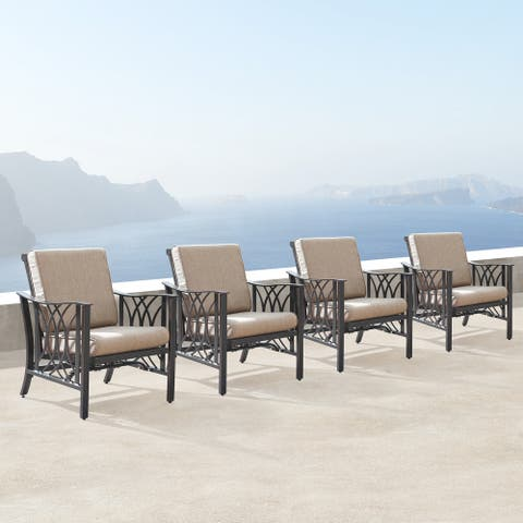 Aluminum Outdoor Deep Seating Rocking Club Chairs in Antique Copper Finish with Thick Tan Polyester Cushions (set of 4)