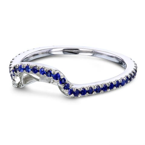 Annello by Kobelli 14k White Gold 1/3 CTW Blue Sapphire Shadow Band