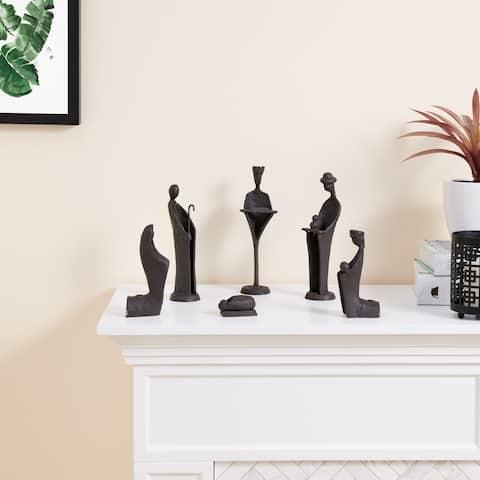 Danya B. Modern 9-Inch Cast Iron Nativity Sculpture Set (6 Figures)