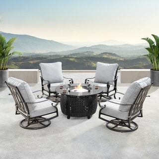Aluminum 44in Fire Table Set with Four Swivel Rockers & Accessories