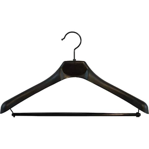 Deluxe Black Plastic Suit Hanger With Wooden Locking Bar, Box Of 50 Hangers With Black Hardware