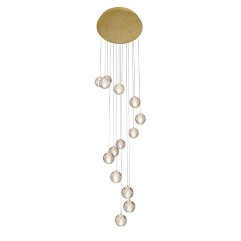 Gold Metal Chandelier with Clear Bubble Crystal Balls