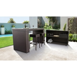 Barbados Bar Table Set with Cart, Basket, and 2 Backless Barstools 5 Piece Outdoor Wicker Patio Furniture