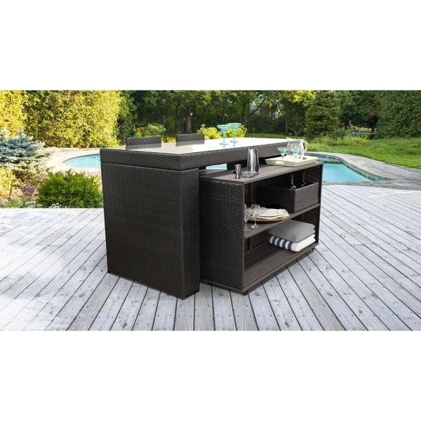 Belle Bar Table Set with Cart, Basket, and 2 Barstools 5 Piece Outdoor Wicker Patio Furniture