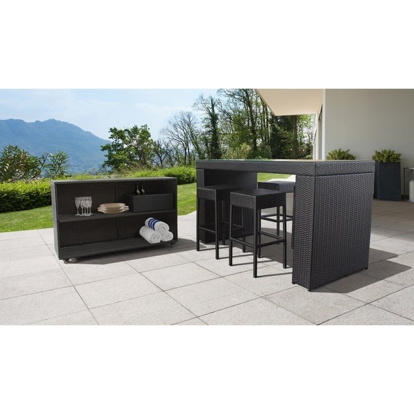 Barbados Bar Table Set with Cart, Basket, and 4 Backless Barstools 7 Piece Outdoor Wicker Patio Furniture