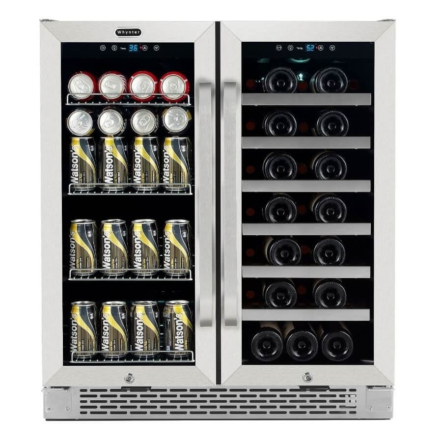 Whynter  30 Built-In French Door Dual Zone 33 Bottle Wine Refrigerator 88 Can Beverage Center (30 W x 22.25 D x 34 H (24.25 D with handles - 2 -