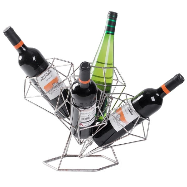 Vintage Decorative Diamond Shaped Tabletop Countertop Wine Holder