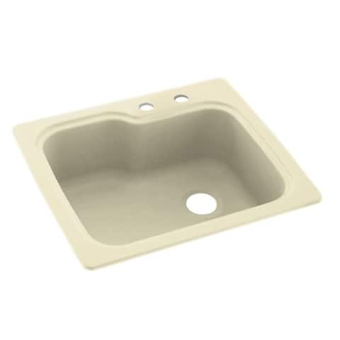 Swan 25-in D x 22-in W x 9.5-in H Solid Surface Dual Mount Single Bowl Kitchen Sink with 2-Hole