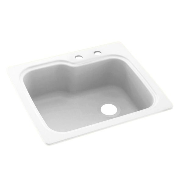 Swan 25-in D x 22-in W x 9.5-in H Solid Surface Dual Mount Single Bowl Kitchen Sink with 2-Hole. Opens flyout.