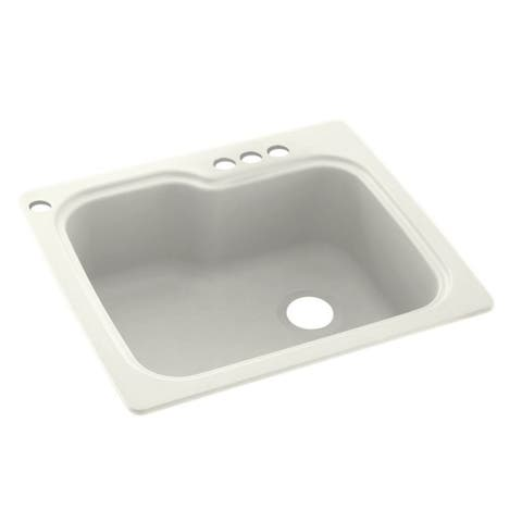 Swan 25-in D x 22-in W x 9.5-in H Solid Surface Dual Mount Single Bowl Kitchen Sink with 4-Hole