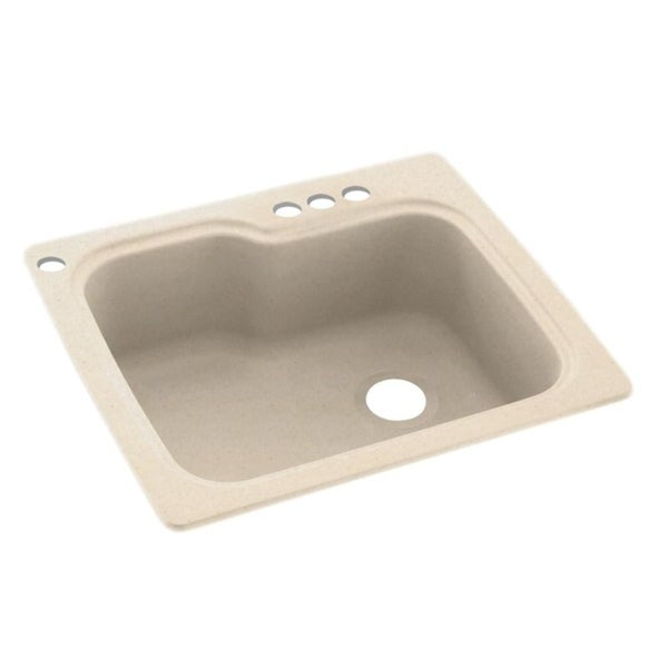Swan 25-in D x 22-in W x 9.5-in H Solid Surface Dual Mount Single Bowl Kitchen Sink with 4-Hole. Opens flyout.