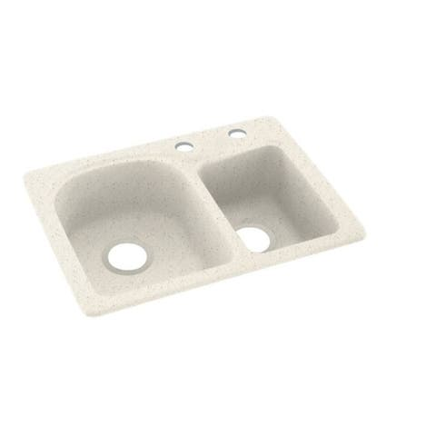 Swan 18-in D x 25-in W x 7.5-in H Solid Surface Dual Mount Double Bowl Kitchen Sink with 2-Hole