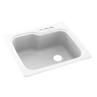 Link to Swan 25-in D x 22-in W x 9.5-in H Solid Surface Dual Mount Single Bowl Kitchen Sink with 3-Hole Similar Items in Sinks