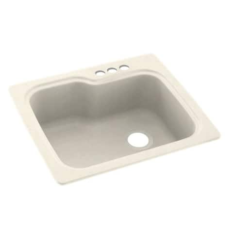 Swan 25-in D x 22-in W x 9.5-in H Solid Surface Dual Mount Single Bowl Kitchen Sink with 3-Hole