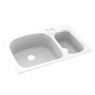 Swan 33-in D x 22-in W x 9.75-in H Solid Surface Dual Mount Double Bowl Kitchen Sink with 2-Hole