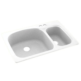Link to Swan 33-in D x 22-in W x 9.75-in H Solid Surface Dual Mount Double Bowl Kitchen Sink with 2-Hole Similar Items in Sinks