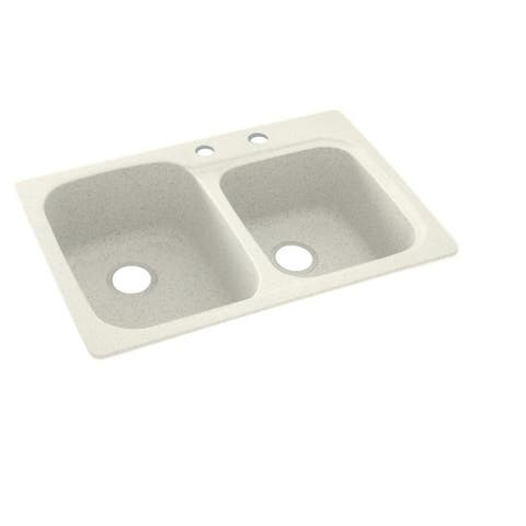 Swan 33-in D x 22-in W x 9-in H Solid Surface Dual Mount Double Bowl Kitchen Sink with 2-Hole