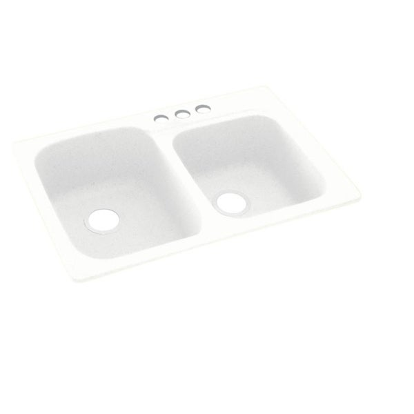 Swan 33-in D x 22-in W x 9-in H Solid Surface Dual Mount Double Bowl Kitchen Sink with 3-Hole. Opens flyout.