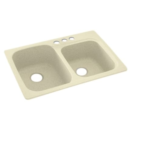 Swan 33-in D x 22-in W x 9-in H Solid Surface Dual Mount Double Bowl Kitchen Sink with 3-Hole