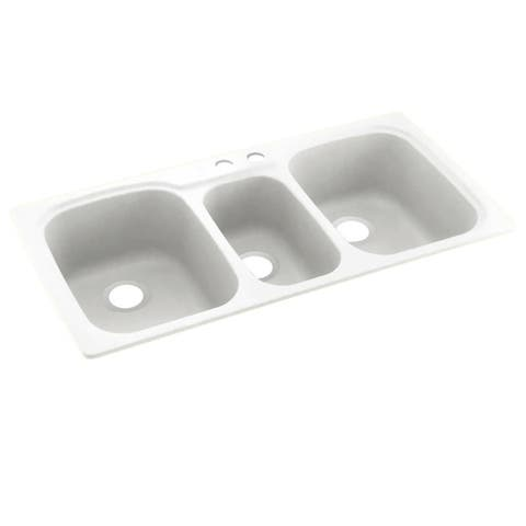 Swan 44-in D x 22-in W x 9.5-in H Solid Surface Dual Mount Triple Bowl Kitchen Sink with 2-Hole