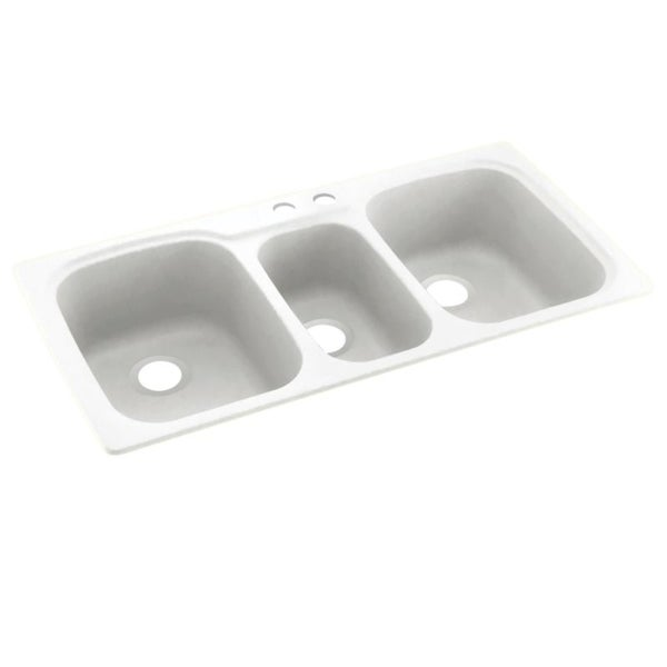 Swan 44-in D x 22-in W x 9.5-in H Solid Surface Dual Mount Triple Bowl Kitchen Sink with 2-Hole. Opens flyout.