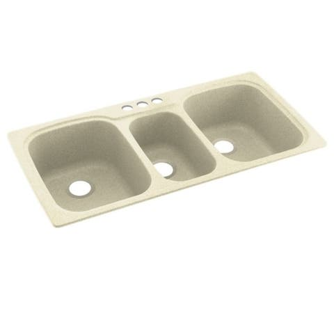Swan 44-in D x 22-in W x 9.5-in H Solid Surface Dual Mount Triple Bowl Kitchen Sink with 3-Hole