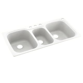 Link to Swan 44-in D x 22-in W x 9.5-in H Solid Surface Dual Mount Triple Bowl Kitchen Sink with 4-Hole Similar Items in Sinks
