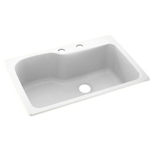 Link to Swan 33-in D x 22-in W x 10.563-in H Solid Surface Dual Mount Single Bowl Kitchen Sink with 2-Hole Similar Items in Sinks