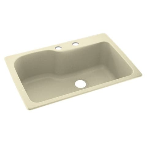 Swan 33-in D x 22-in W x 10.563-in H Solid Surface Dual Mount Single Bowl Kitchen Sink with 2-Hole