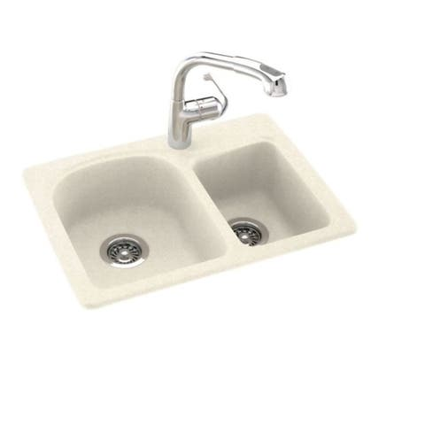 Swan Solid Surface Dual-mount Double-bowl 1-hole Kitchen Sink