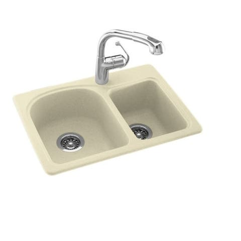 Swan 18-in D x 25-in W x 7.5-in H Solid Surface Dual Mount Double Bowl Kitchen Sink with 1-Hole