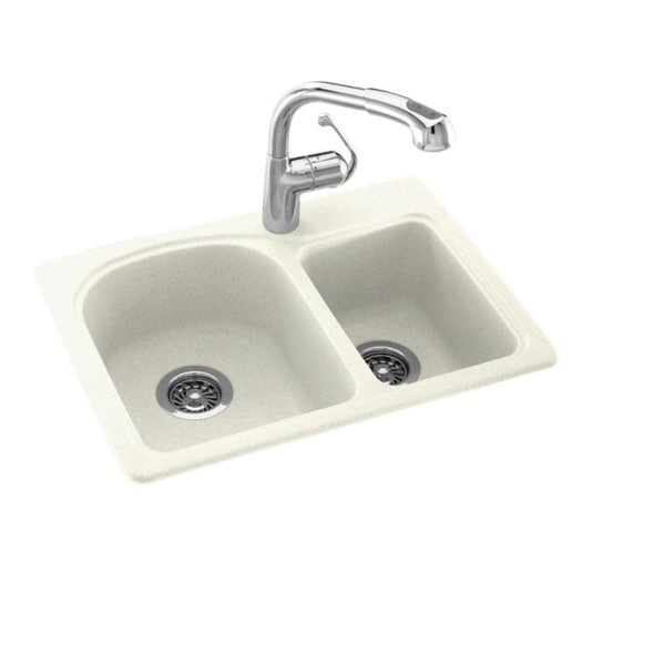 Swan 18-in D x 25-in W x 7.5-in H Solid Surface Dual Mount Double Bowl Kitchen Sink with 1-Hole. Opens flyout.