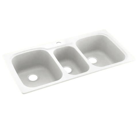 Swan 44-in D x 22-in W x 9.5-in H Solid Surface Dual Mount Triple Bowl Kitchen Sink with 1-Hole