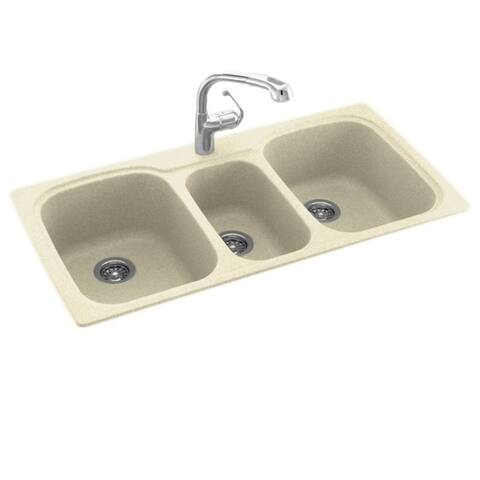 Swan Solid Surface Dual-mount 1-hole 3-bowl Kitchen Sink