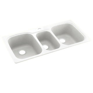 Link to Swan 44-in D x 22-in W x 9.5-in H Solid Surface Dual Mount Triple Bowl Kitchen Sink with 1-Hole Similar Items in Sinks