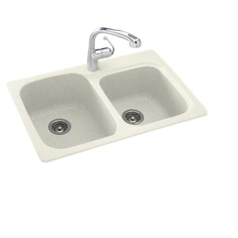 Swan 33-in D x 22-in W x 9-in H Solid Surface Dual Mount Double Bowl Kitchen Sink with 1-Hole