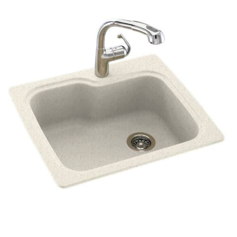 Swan 25-in D x 22-in W x 9.5-in H Solid Surface Dual Mount Single Bowl Kitchen Sink with 1-Hole