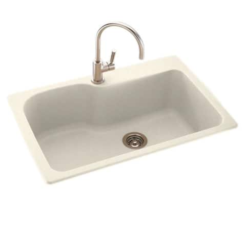 Swan 33-in D x 22-in W x 10.563-in H Solid Surface Dual Mount Single Bowl Kitchen Sink with 1-Hole