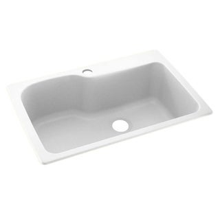 Link to Swan 33-in D x 22-in W x 10.563-in H Solid Surface Dual Mount Single Bowl Kitchen Sink with 1-Hole Similar Items in Sinks